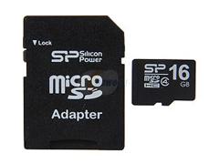 Silicon Power Micro SDHC Class4 16GB + adater memóriakártya