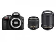 Nikon D3300 + 18-55VR + 55-200VR fekete tükörreflexes digitális fényképezõgép